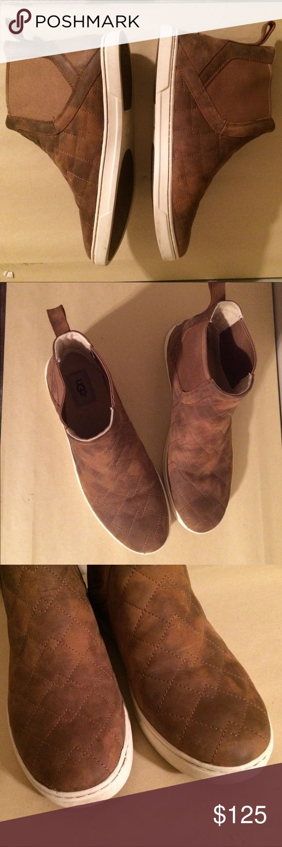 UGG bootie/boots/leather shoe Manufactured distressed with elastic stretch sides for easy slip on and comfort. Dillard's has these exact shoes for $200 and they sell out wayy before they go on sale! A shoe that you can compare to Clarks, Born or Dansko on the comfort and quality scale. 20% off 2/more items UGG Shoes