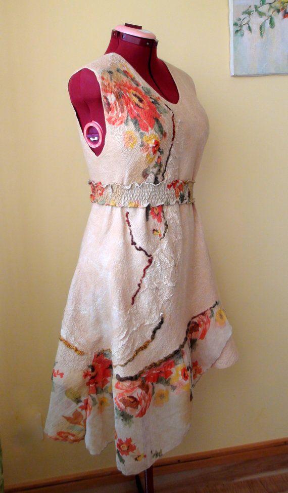 Kleid Karamell Nuno filzen Kleid oder Sommerkleid von HandyMaria, $210.00