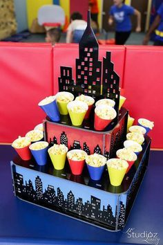 Fun popcorn display at a superhero birthday party! See more party planning ideas at CatchMyParty.com!