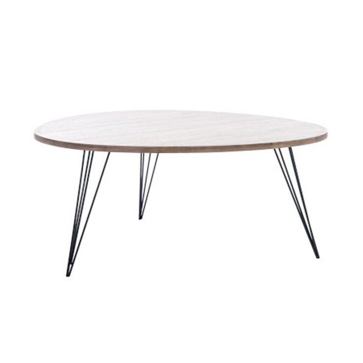 Kaffebord i retro stil med treplate og metall ben. Mål: 90 x 90 x 40. For mer info og bestilling: www.krogh-design.no