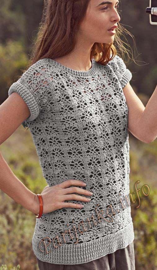 Ажурный пуловер крючком (ж) 135 Creations 15/16 Bergere de France №4675