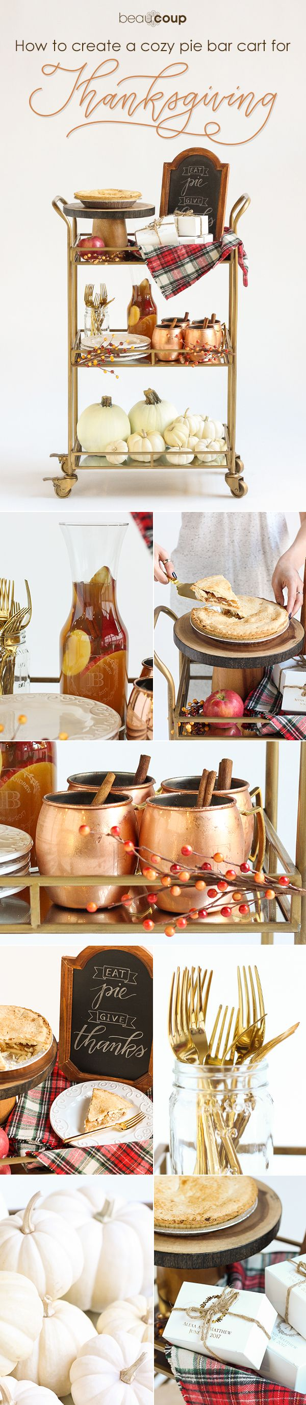 Celebrate Thanksgiving in the perfect fashion - with a pie bar cart! Get inspired to style your Thanksgiving bar cart with copper, pie and pumpkins! Read the blog to find all the inspiration you need
