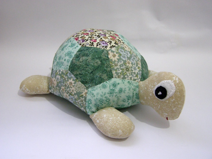 Patchwork Turtle - Stuffed Animal - Soft Toy -  Vintage fabric. $55,00, via Etsy.