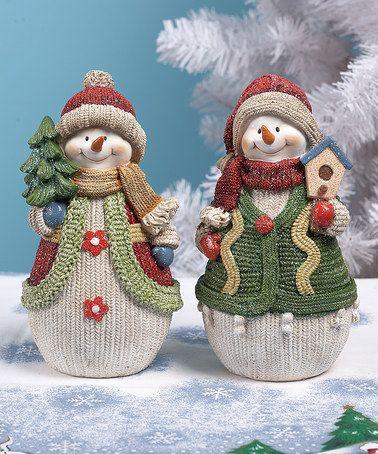 Look what I found on #zulily! Small Knit Snowman Figurine Set #zulilyfinds