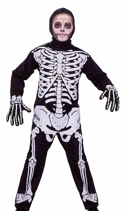 Children Boys Skeleton Costume Includes Hood and Jumpsuit