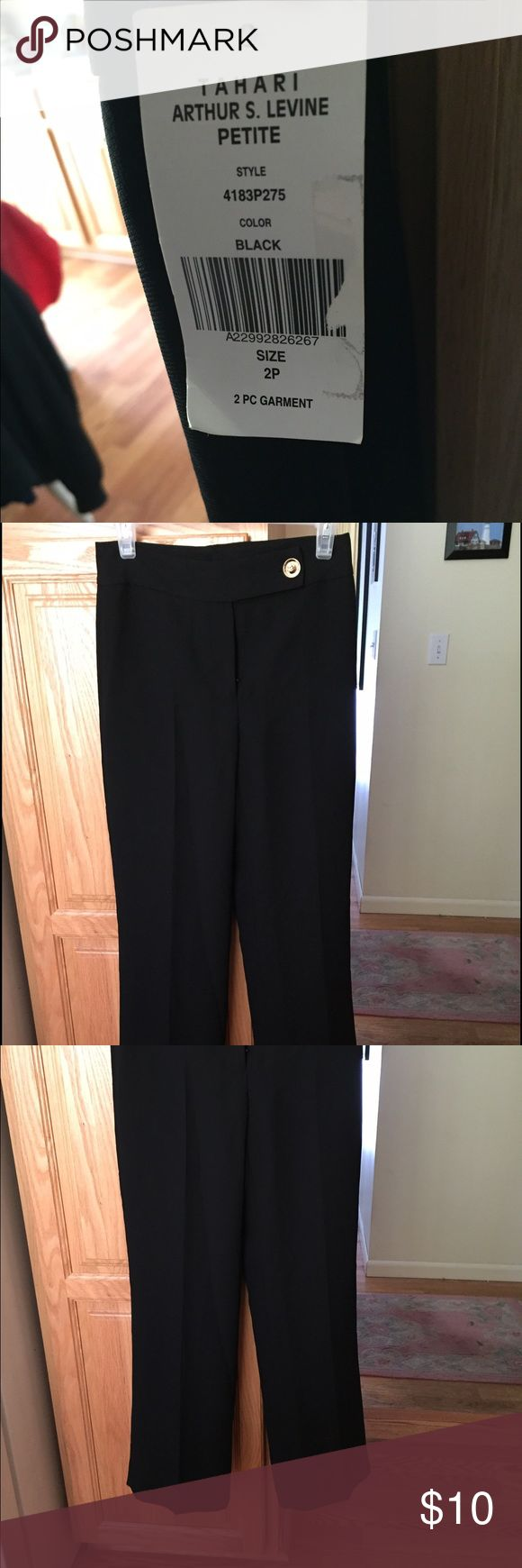 NWT Tahari ASL Petite pants Black Tahari black work pants. Size 2P. The pants were part of a two piece set, but you only receive the pants. The entire outfit was originally $129. Thanks for checking out my closet! Tahari Pants