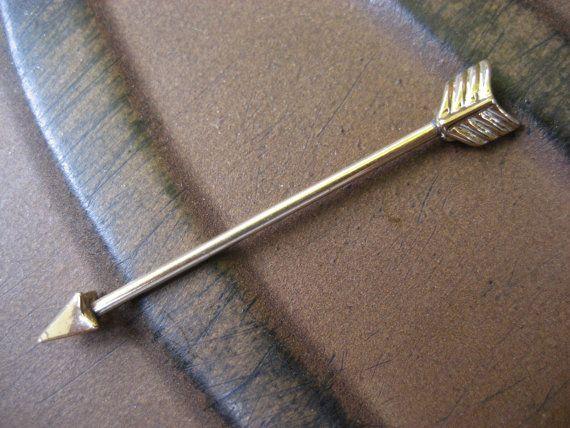 Gold Arrow Industrial Barbell Piercing Bar Scaffold Earring Ear Jewelry Arrow Head Head 14 Gauge G 14g