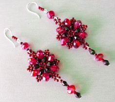 """""""Persia"""" Beaded Earrings Pattern - FREE - From Bead Magic  #heartbeadwork    It was this picture that 'lured' me to this section of the website ... So elegant and I love the garnet and black color combination!"""