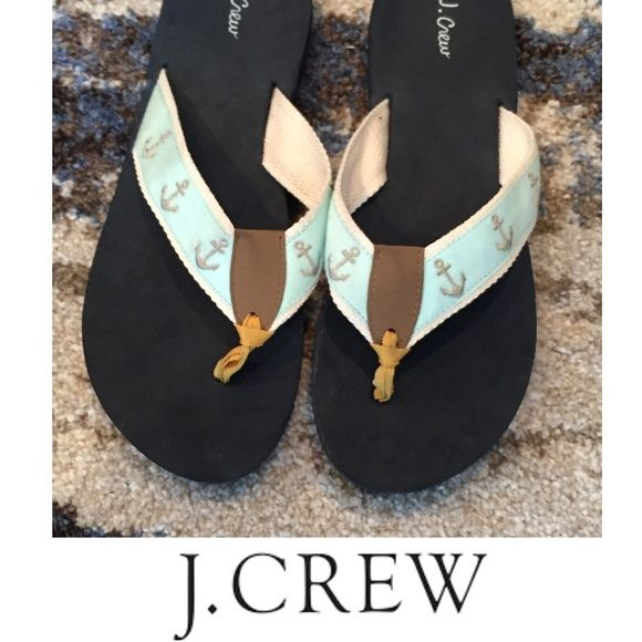J. Crew Anchor Nautical Flip Flop Sandals J. Crew Anchor Nautical Flip Flop Sandals. Light blue straps with little silver anchors. My foot is a 8.5 and they are just a little too small. Size 8. Excellent condition. J. Crew Shoes Sandals