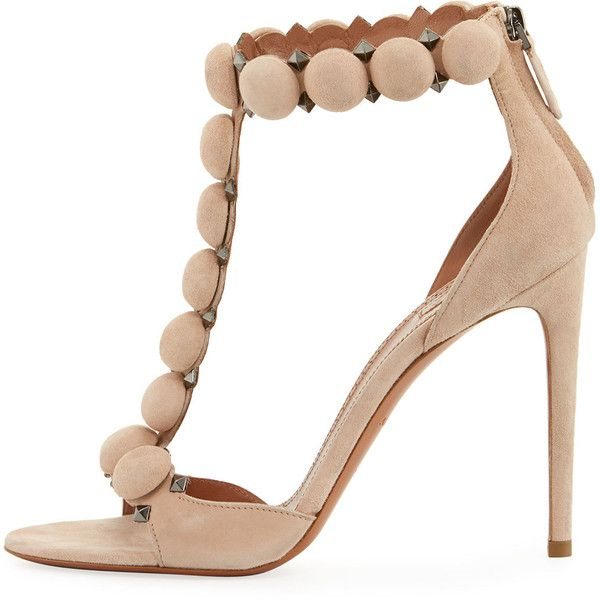 Alaia Sandal (92.450 RUB) ❤ liked on Polyvore featuring shoes, sandals, nude, shoes sandals, suede shoes, black suede shoes, alaïa, zip back sandals and suede sandals