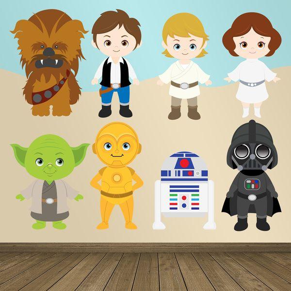 Adesivi per bambini: Star Wars. Adesivi murali bambini a kit. #adesivimurali #decorazione #modelli #mosaico #yoda #darth #chewaca #r2d2 #c3po #luke #leia #han #StickersMurali
