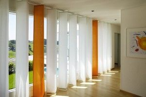 Vertical Blinds With Orange And White Color