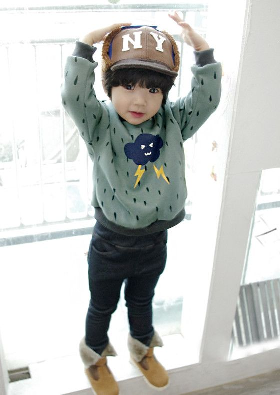 Rainy Day Sweatshirt for boys 2-6. Cool kids fashion, play ready style at Color Me WHIMSY.