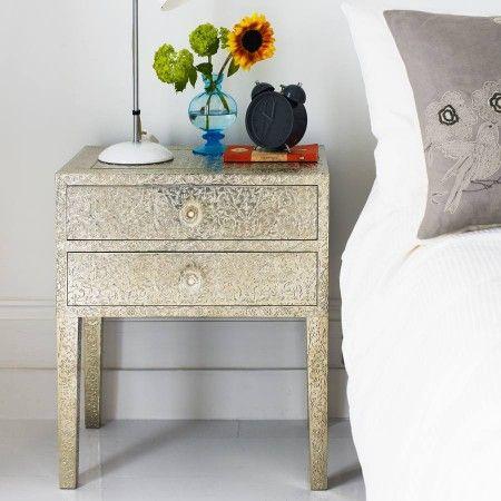 Embossed White Metal 2 Drawer Bedside Table - Bedside Tables - Furniture