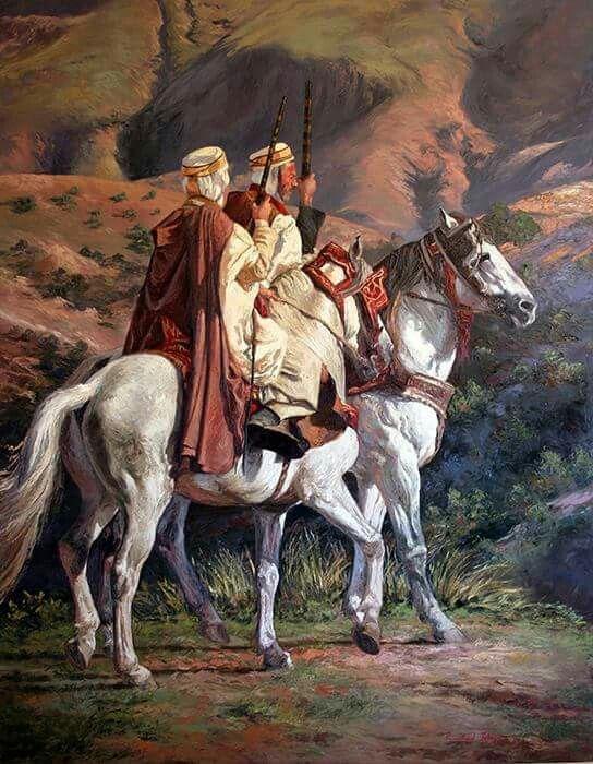 Two horsemen - Algeria.  Artist not known.