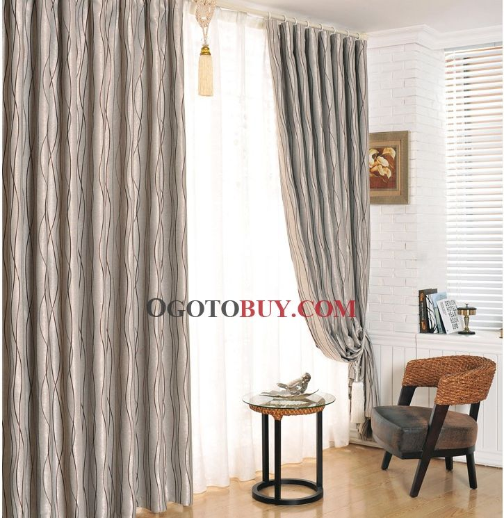 Wonderful Water Waved Lines Grey Blackout Curtains Of Polyester