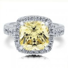 925 Sterling Silver Canary CZ Cushion CZ Right Hand Ring