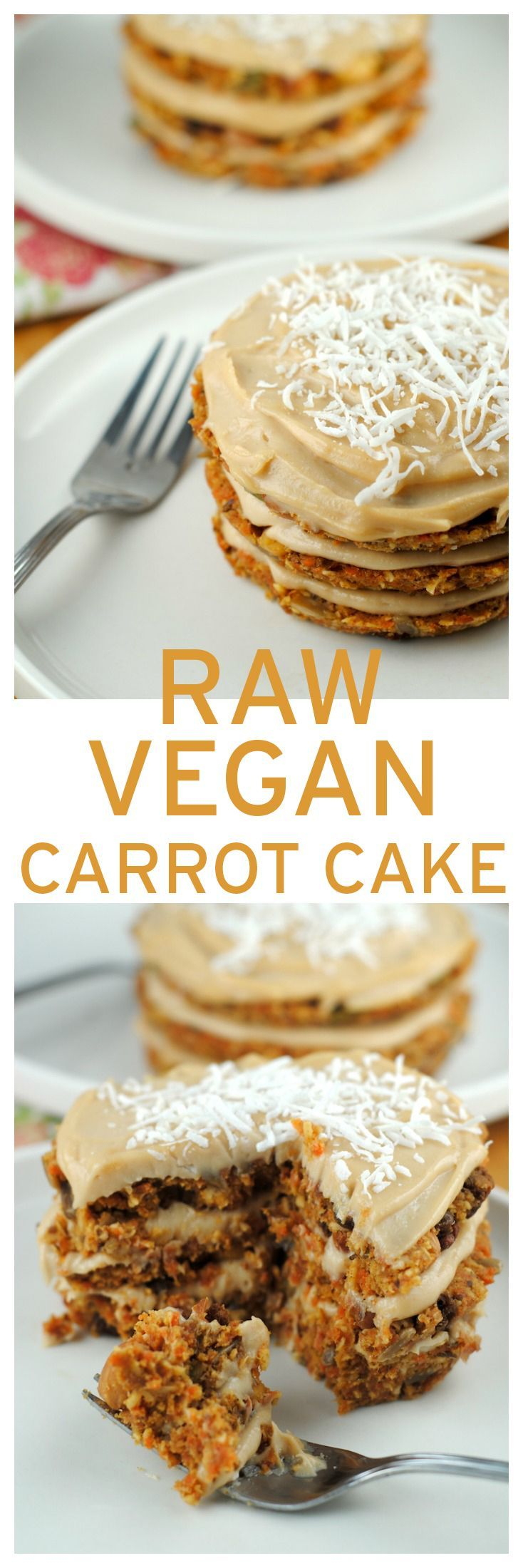 Raw Vegan Carrot Cake with maple cashew cream frosting! You should try this recipe.  From http://theblenderist.com