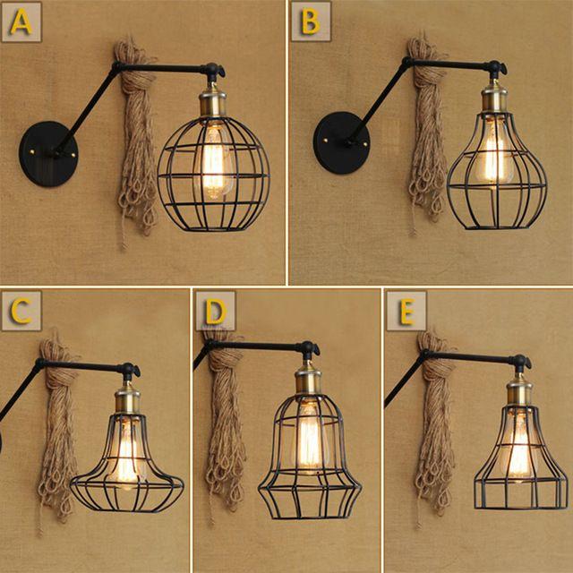 Vintage ijzeren wandlamp Retro Wandmontage Bed schans Lichten lamparas de pared magazijn cafe bar muur armatuur licht