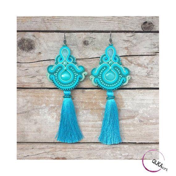 Very long blue earrings. Soutache jewellery. Turquoise by QlkaArt