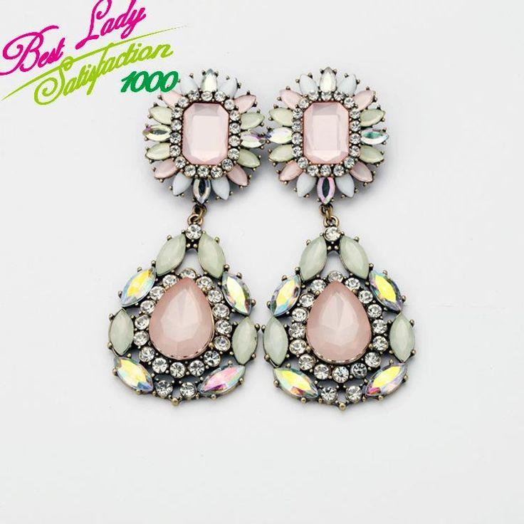2013 мода Европейская мода ювелирные изделия оптом новый сплав уха gem хрустальный цветок серьги 6501