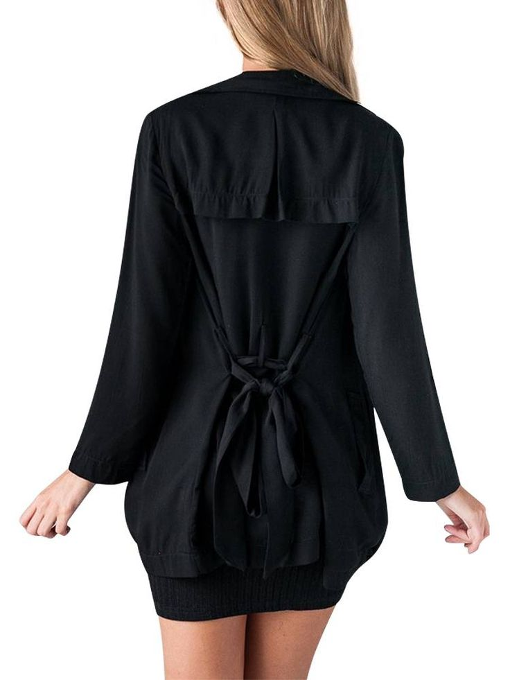 Black Flouncing Thin Trench Coats For Women Windbreaker With Belt at Banggood