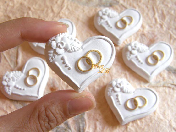 10 pezzi Gessetti Cuore con anelli da applicare su bomboniere o come segnaposto. By Forever AB