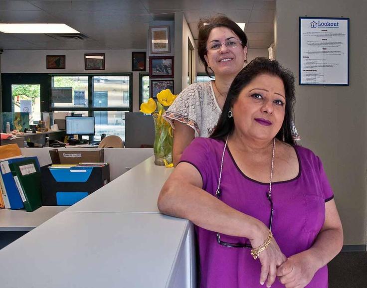 Srishta and Mona at the Administration office.