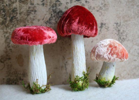 Silk Velvet Mushroom Decorations  Red Set of 3 by juliecollings