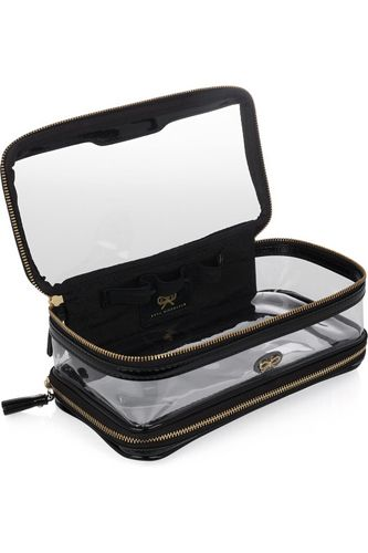 Staying organized on-the-go is essential to my sanity, so I'm constantly searching for cute cases that will help me store jewelry, toiletries, electronics and more. Right now, I'm coveting this in-flight leather trimmed travel case from Anya Hindmarch. The clear sides let you peek inside the pouch, granting easy-access to your tiny treasures.  Anya Hindmarch In-Flight Travel Case, $195, available at Net-a-Porter.