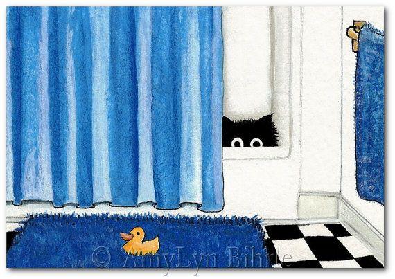 Резиновая утка Black Cat Синий Ванная комната Art - Art Печать или ACEO по Bihrle ck97