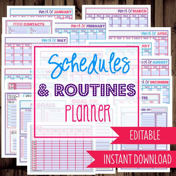 Instant Download - EDITABLE-Schedules & Routines Planner-Daily Planner, Schedule, To Do List, Weekly Planner, Calendars-21 Documents-Dots