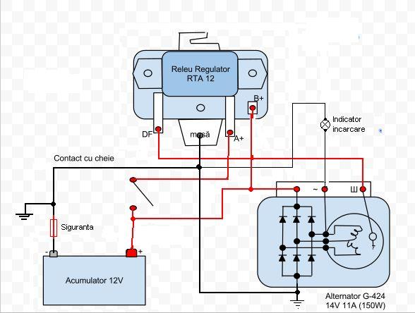 Imagini pentru schema electrica conectare releu incarcare alternator 24 V