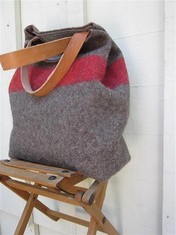 XL Swiss Army Wool Blanket Bag- personalized Shopping Beach Tote- Taupe Grey Red -  Leather- Industrial Military