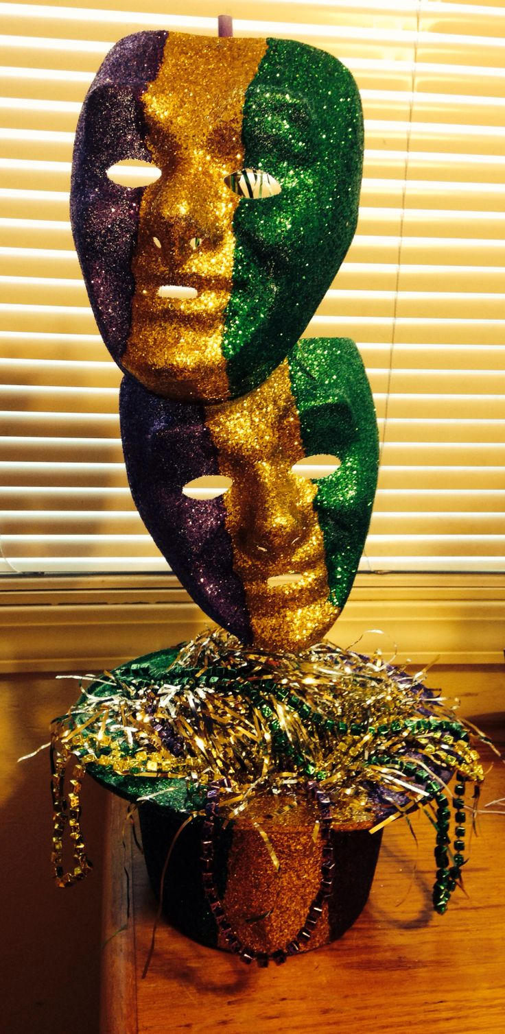 Mardi Gras centerpiece for work party 2014. Dad made the stand, Fleur de lys topper is from Michaels. Mom and I designed the piece.