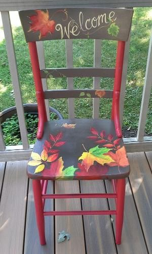 Hand painted fall leaf chair by ana