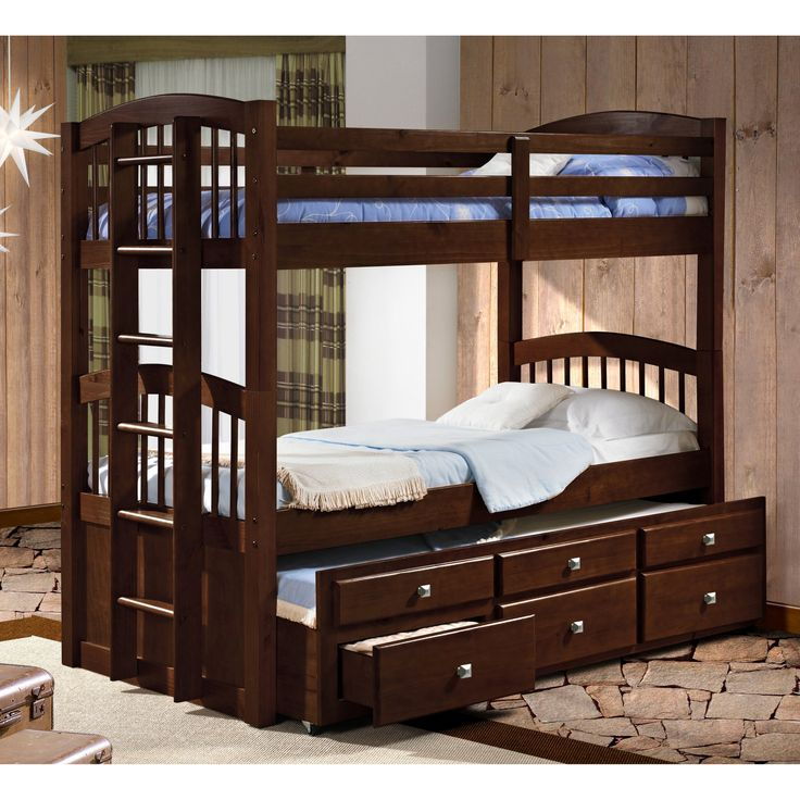 Donco Twin over Twin Captains Trundle Bunk Bed - 134-3CP