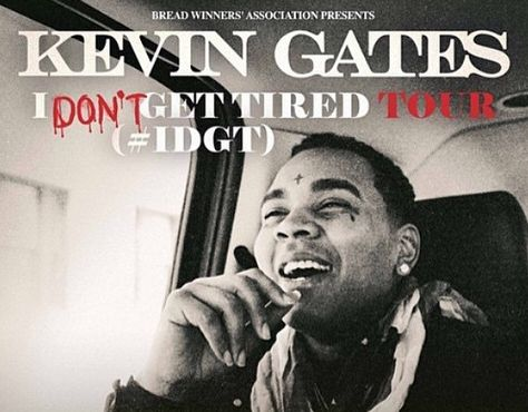 """Louisiana rapper Kevin Gates has announced his """"I Don't Get Tired Tour,"""" which will take him across the South and the Midwest in February and March. According to Hip-Hop DX, the tour kicks off on Feb. 20 in Montgomery, Alabama and will hit 19 cities, finishing up on March 15 in Shreveport, Louisiana. However, the itinerary claims that Gates will be performing two shows in two separate Louisiana cities on March 14, so either this is a typo or Gates is just really committed to his whole """"I ..."""