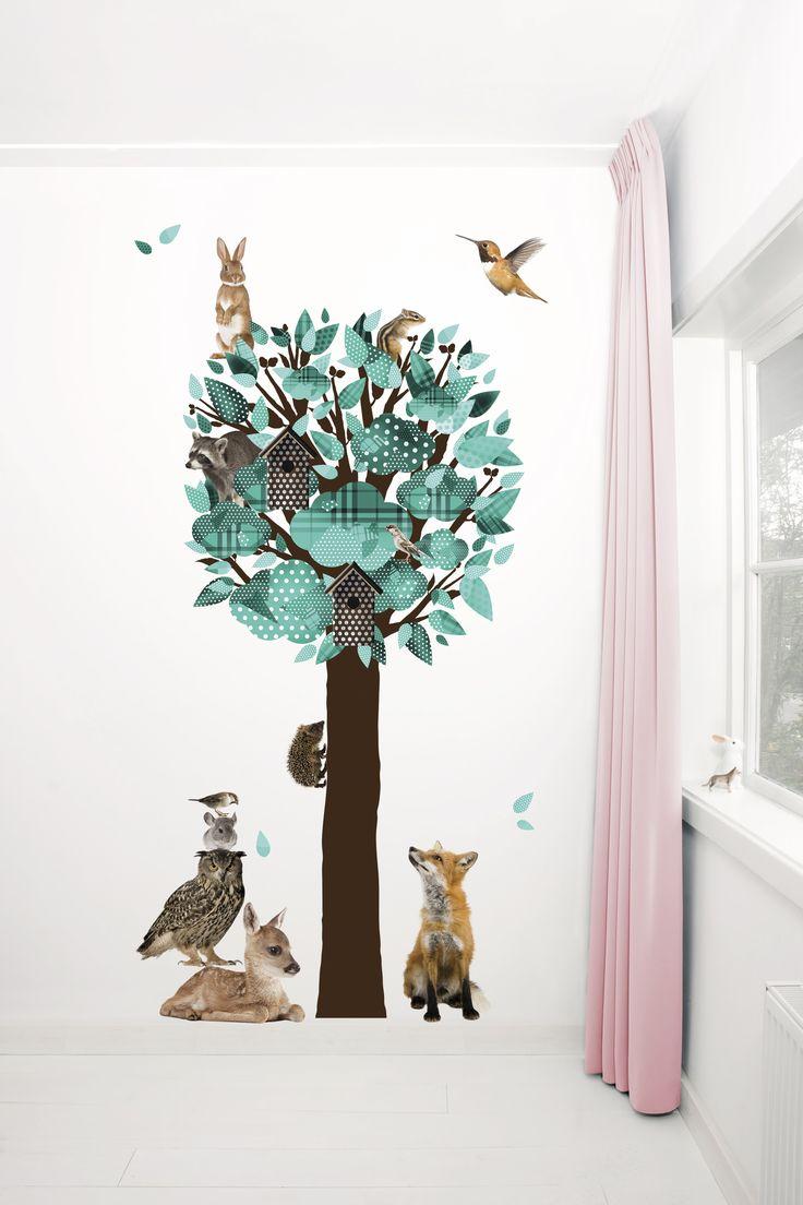 Versier je muur met deze grote turquoise boom en zijn dierenvriendjes uit het bos! http://www.kekamsterdam.nl/muursticker-bomen/muursticker-boom-forest-friends-tree-xl-turquoise/ #muursticker #decoration #decoratie