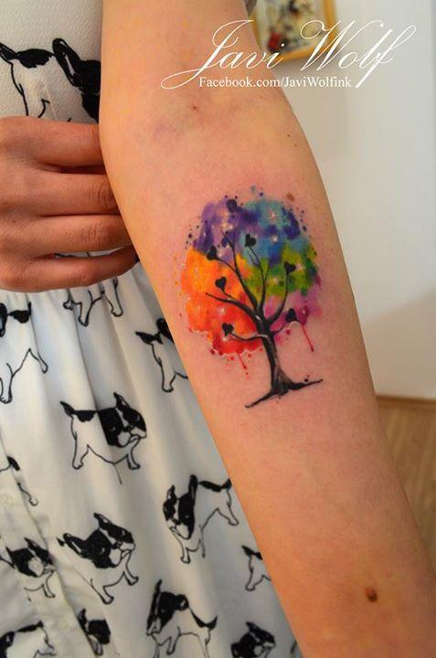 Javi Wolf, Watercolor, tattoo, tree