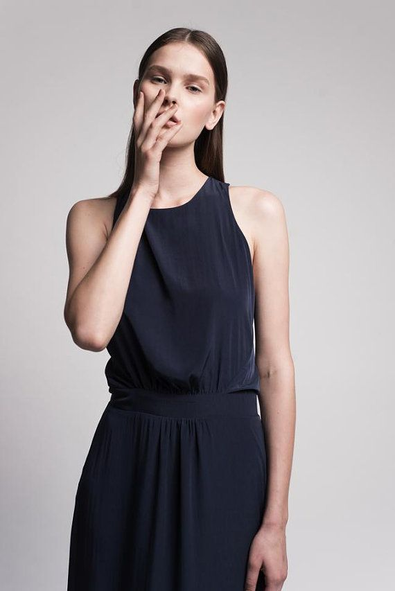 Blue Maxi Evening Dress With An Open Back / by Lennyfashion