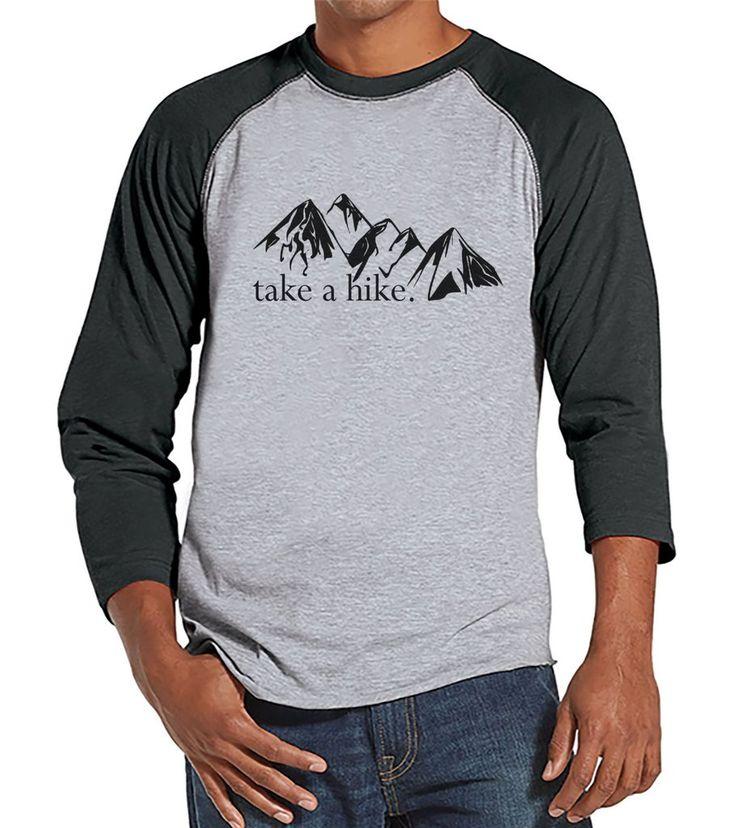 Hiking Shirt - Take a Hike Shirt - Funny Men's Grey Raglan T-shirt - Camping, Hiking, Outdoors, Mountain, Nature Shirt - Gift for Him