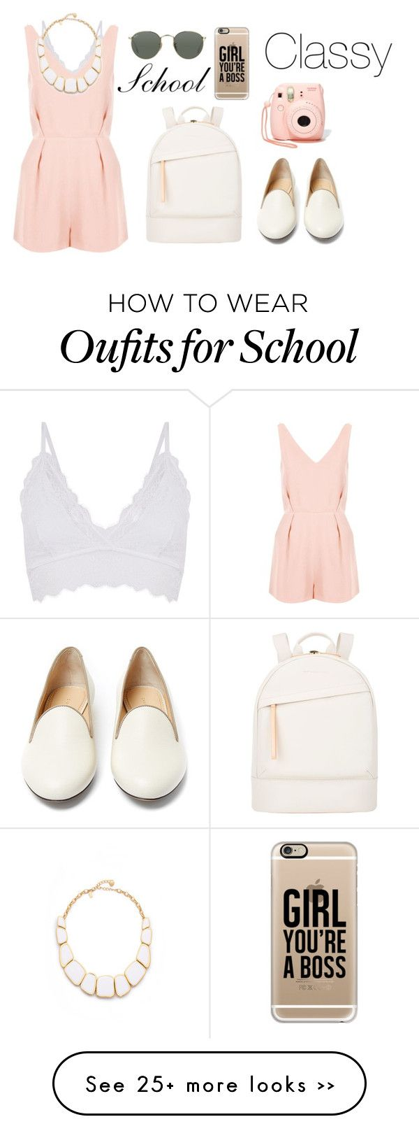 """back to school in pretty style"" by diana2579 on Polyvore featuring Topshop, Kate Spade, Want Les Essentiels de la Vie, Ray-Ban, Nasty Gal, Charlotte Olympia and Casetify"