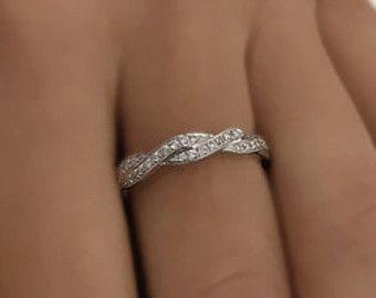 Rond torsadé diamant mariage bague or 14k blanc ou par ldiamonds