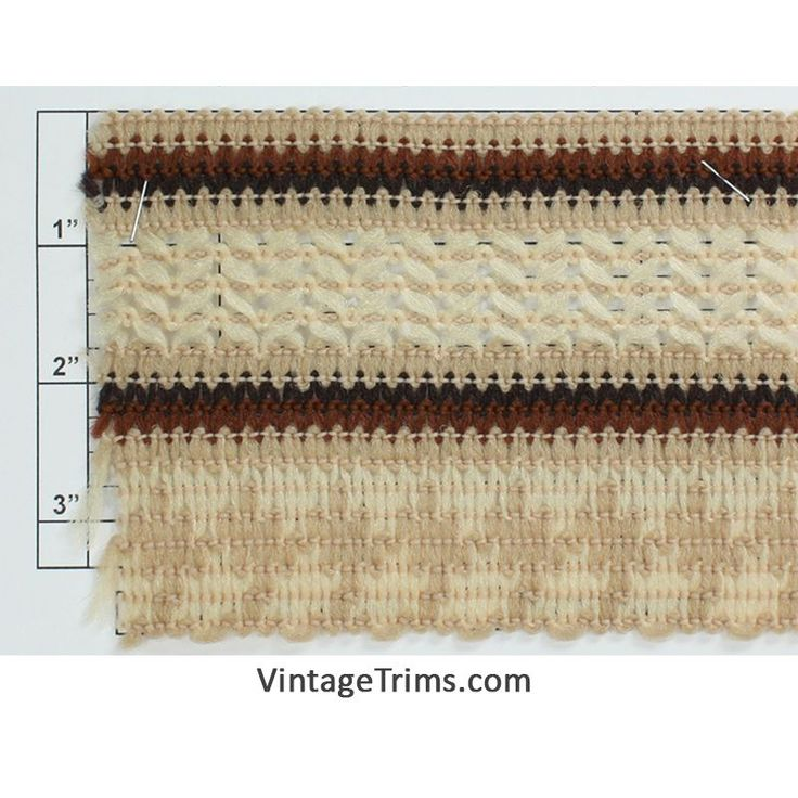 "Scalloped Braid 3-7/8"" (Brown/Black/Tan/Ivory)"