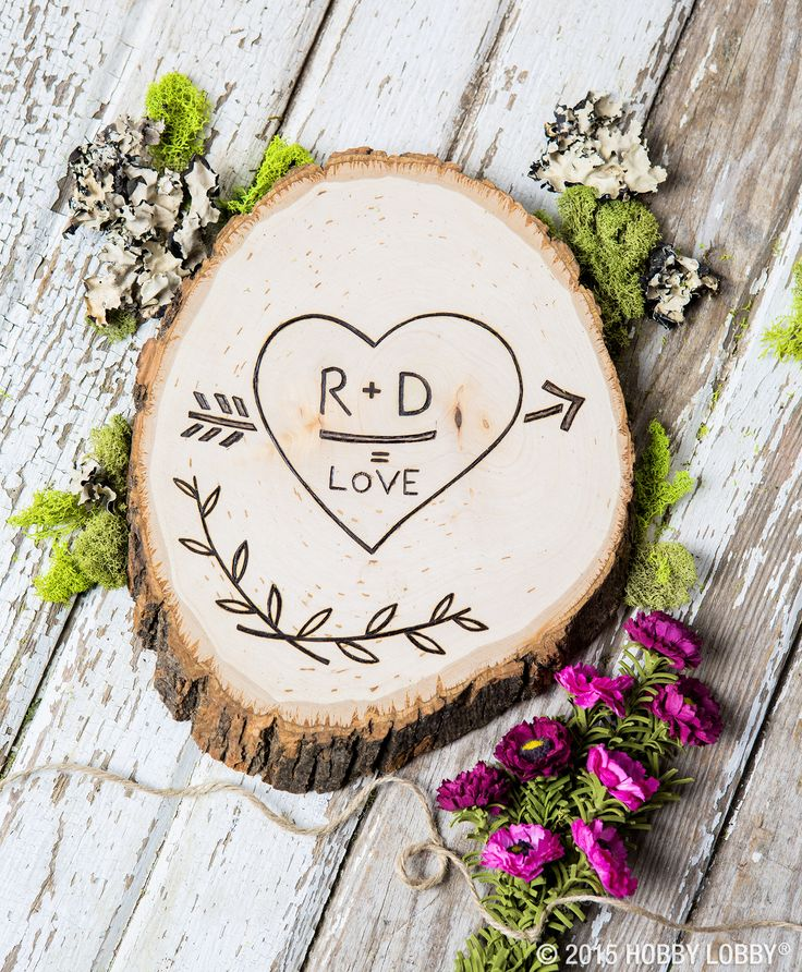 We're in love with this simple DIY Valentine's project! Trace your design onto a wood round and then go over the design with a wood-burning tool. Voilà!