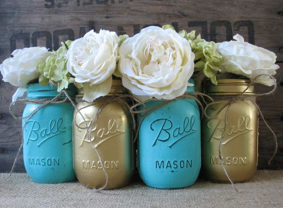 Mason Jars, Ball jars, Painted Mason Jars, Flower Vases, Rustic Wedding Centerpieces, Gold and Turquoise Mason Jars
