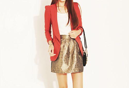 Holiday PartyFashion Foward, Shiny Skirts, Fashion Style, Holiday Outfit, Dresses Room, Kinda Style, Red Blazer, Blazers Skirts, Nico Fashion