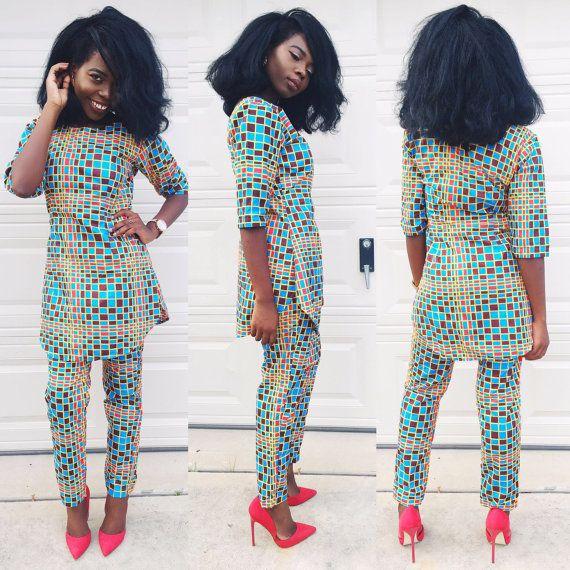 Afrikaanse vrouwen ankara print 2 stk sets top met door Veroexshop