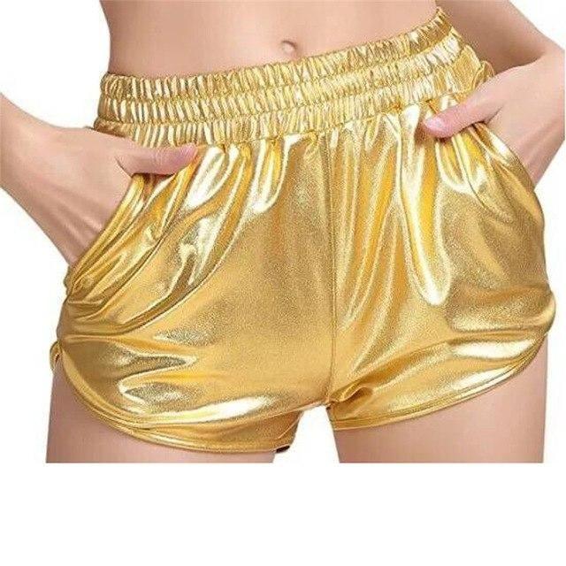 Visnxgi Summer Bright Leather Shorts Short Women Loose Pocket Elastic Waist Party Club Bright Shorts Plus Size D132 Gold S 2